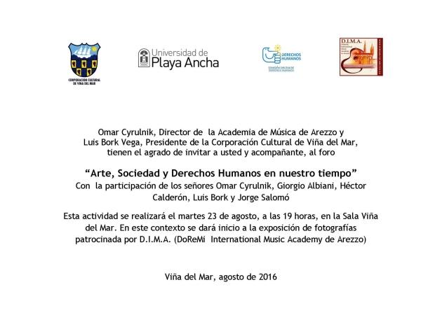 Invitación Foro Arte, Sociedad y Derechos Humanos